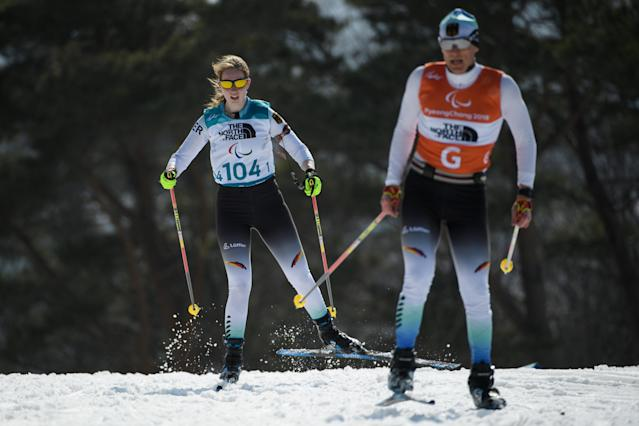 Clara Klug GER and guide Martin Hartl compete during the Biathlon Visually Impaired Women's 10km at the Alpensia Biathlon Centre. The Paralympic Winter Games, PyeongChang, South Korea, Tuesday 13th March 2018. OIS/IOC/Thomas Lovelock/Handout via Reuters