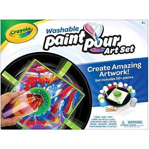 """<p><strong>Crayola</strong></p><p>amazon.com</p><p><strong>$13.99</strong></p><p><a href=""""https://www.amazon.com/dp/B084Y9JTNH?tag=syn-yahoo-20&ascsubtag=%5Bartid%7C10070.g.34428616%5Bsrc%7Cyahoo-us"""" rel=""""nofollow noopener"""" target=""""_blank"""" data-ylk=""""slk:SHOP NOW"""" class=""""link rapid-noclick-resp"""">SHOP NOW</a></p><p>The best part of this paint pour art set is that it doesn't stain skin or clothes, and it's entertaining for everyone. The kit, which includes 10 paints, three canvases, and some beakers, strainers, and stir sticks, lets kids and adults create personalized works of art they can hang anywhere. <em>Ages 8+</em></p>"""