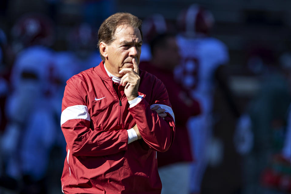 Nick Saban is among those wondering whether a season is possible. (Photo by Wesley Hitt/Getty Images)