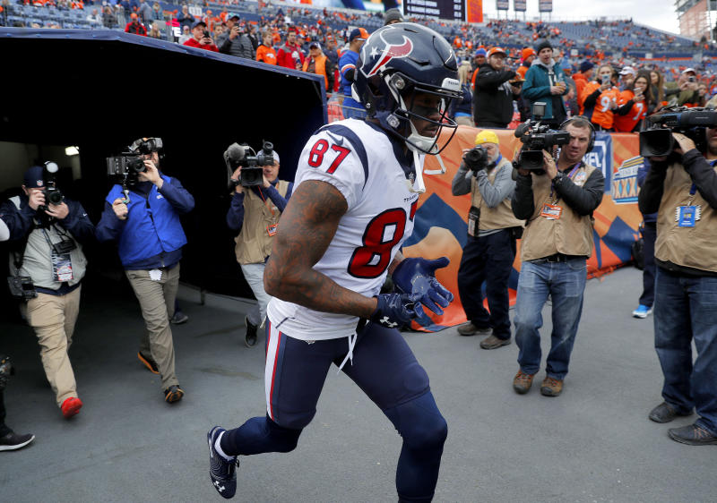 Houston Texans wide receiver Demaryius Thomas (87) returned to play the Denver Broncos, who traded him earlier in the week. (AP)