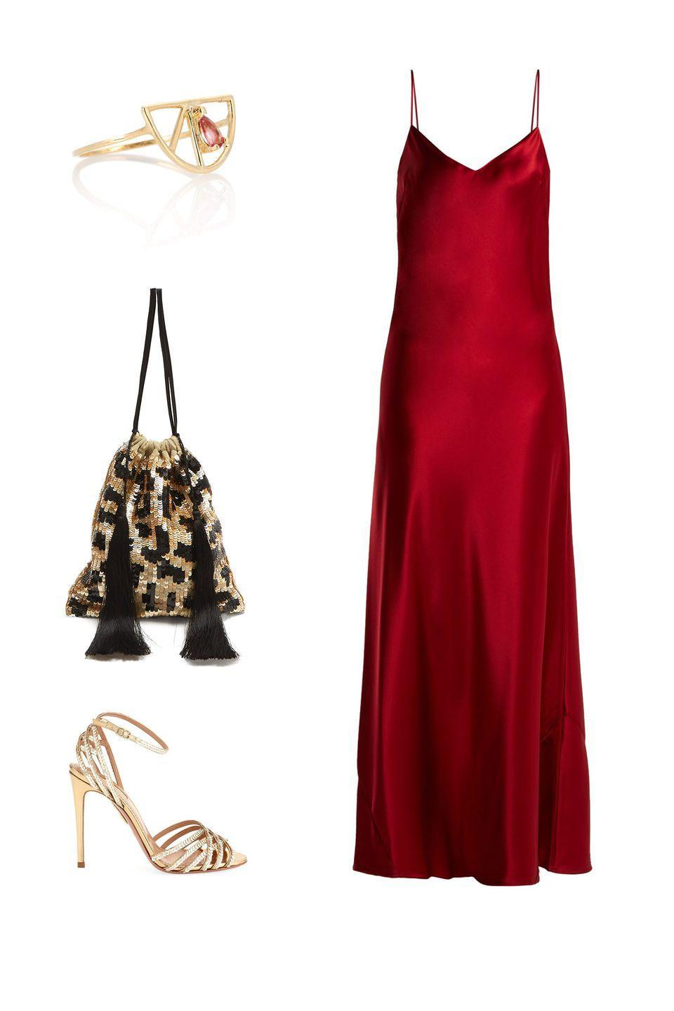 """<p>Pairing a sexy red slip with metallic accessories makes for a fun and flirty party look–but be sure to ground a dress this daring with minimalist black sandals and dainty, sleek jewelry to avoid your look coming off overwrought.</p><p><em><strong>Galvan</strong> satin gown, $895, <a rel=""""nofollow noopener"""" href=""""https://www.matchesfashion.com/us/products/1221077?rffrid=sem.Google.n=g.cid=925924062.aid=48744407440.k=.mty=.d=c.adp=1o2.cr=220140916055.tid=aud-429262818371:pla-356642144869.pid=1221077000007.ppid=356642144869.lpm=9012934.adty=pla.prl=en&utm_content=1221077000007&utm_term=356642144869.%5Bvalue%5D.&gclid=Cj0KCQjw77TbBRDtARIsAC4l83lzFpqlBXc8zbGUx0tp2ZA5PEqlE9lZ6zJ_XnkZnDCcT3o171l_NEgaAgZIEALw_wcB&gclsrc=aw.ds"""" target=""""_blank"""" data-ylk=""""slk:matchesfashion.com"""" class=""""link rapid-noclick-resp"""">matchesfashion.com</a>; <strong>Aquazzura</strong> sandals, $895, <a rel=""""nofollow noopener"""" href=""""https://www.bergdorfgoodman.com/Aquazzura-Studio-Sequin-Metallic-Leather-Sandal-with-Ankle-Strap/prod138810263_cat574500__/p.prod?icid=&searchType=EndecaDrivenCat&rte=%252Fcategory.service%253FitemId%253Dcat574500%2526pageSize%253D120%2526No%253D0%2526Ns%253DPCS_SORT%2526refinements%253D724&eItemId=prod138810263&cmCat=product"""" target=""""_blank"""" data-ylk=""""slk:bergdorfgoodman.com"""" class=""""link rapid-noclick-resp"""">bergdorfgoodman.com</a>; <strong>Attico</strong> leopard sequin pouch, $517, <a rel=""""nofollow noopener"""" href=""""https://www.matchesfashion.com/us/products/Attico-Leopard-sequinned-pouch--1230610"""" target=""""_blank"""" data-ylk=""""slk:matchesfashion.com"""" class=""""link rapid-noclick-resp"""">matchesfashion.com</a>; <strong>Aliita</strong> ring, $332, <a rel=""""nofollow noopener"""" href=""""https://www.mytheresa.com/en-de/aliita-media-naranja-9kt-yellow-gold-and-pink-tourmaline-ring-889258.html?catref=category"""" target=""""_blank"""" data-ylk=""""slk:mytheresa.com"""" class=""""link rapid-noclick-resp"""">mytheresa.com</a>.</em></p>"""