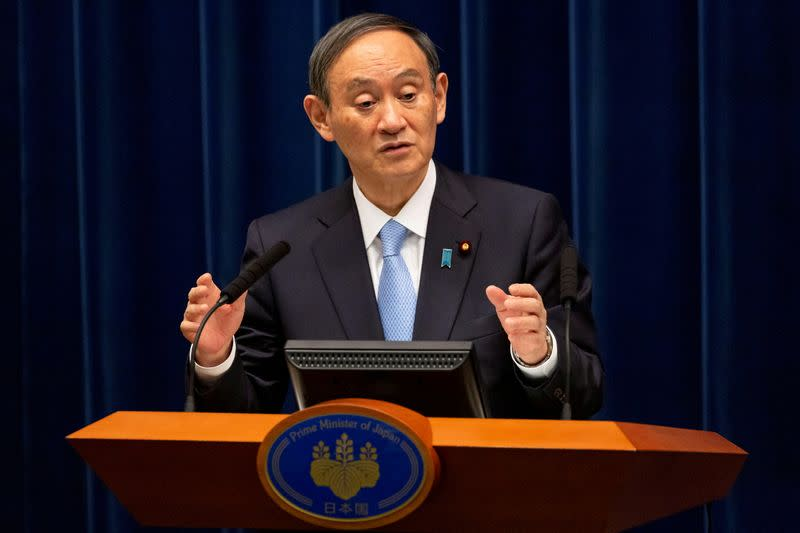 FILE PHOTO: Japanese PM Suga holds news conference in Tokyo on March 5, 2021