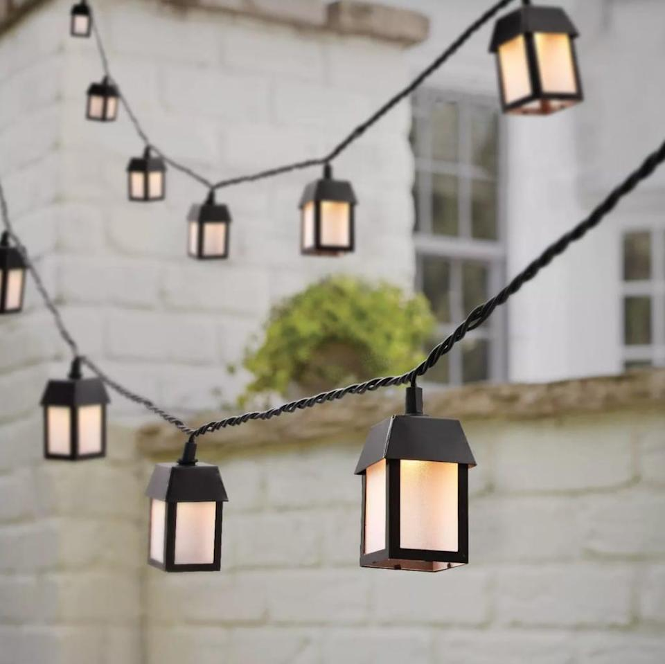<p>Hang these cute <span>Threshold 10ct Incandescent Metal Outdoor Lantern String Lights</span> ($18) on your porch.</p>