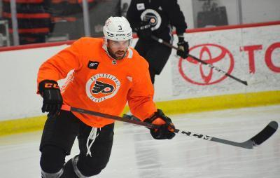 Defenseman Keith Yandle skates during training camp at the Flyers Training Center.