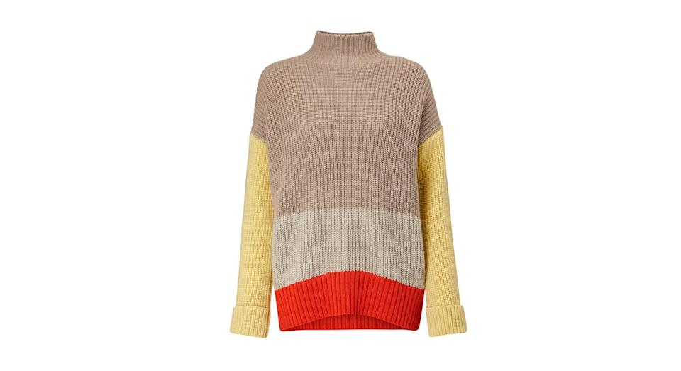 "<p>John Lewis isn't our go-to for fashion but we're actually really impressed with this block-colour jumper. Cosy AF. <br><a href=""https://www.johnlewis.com/john-lewis-partners-block-colour-turtle-neck-sweater/p3701978"" rel=""nofollow noopener"" target=""_blank"" data-ylk=""slk:Buy here."" class=""link rapid-noclick-resp"">Buy here.</a> </p>"