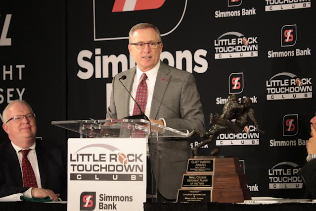 Arkansas athletic director Jeff Long tells members of the Little Rock Touchdown Club on Monday, Sept. 11, 2017, that he wants to know within three to five months whether the Razorbacks' football team will play games at the city's War Memorial Stadium after the 2018 season. Long said potential opponents need to know which Arkansas home games will be played in Fayetteville and Little Rock. The school is currently under a contract to play one more game at War Memorial, against a Southeastern Conference opponent next year. (AP Photo/Kelly P. Kissel)