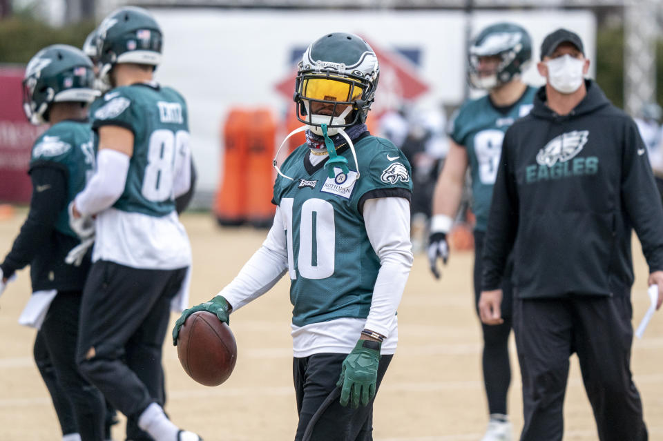 DeSean Jackson (10) has been released by the Eagles, he said on Instagram. (AP Photo/Chris Szagola, Pool)