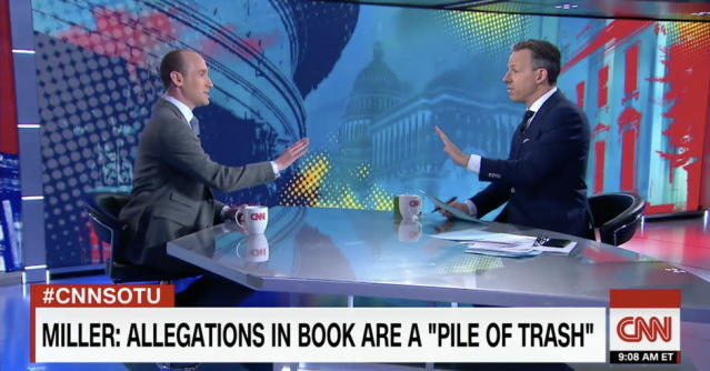 Stephen Miller, left, and Jake Tapper. (Photo: CNN)