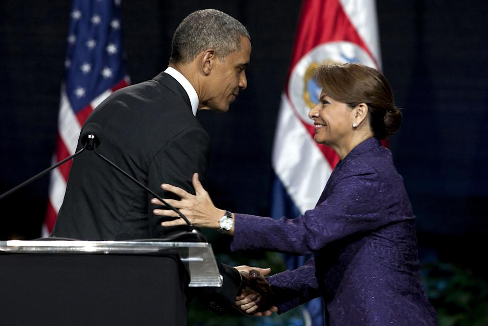 President Barack Obama and Costa Rica's President Laura Chinchilla shake hands at the end of their joint press conference in San Jose, Costa Rica, Friday, May 3, 2013.