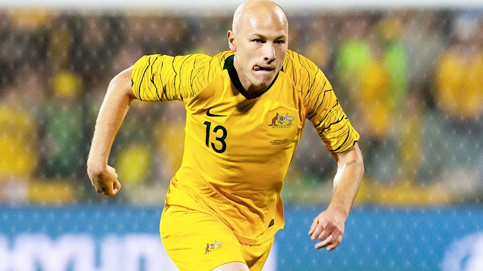 Aaron Mooy, pictured here in action for the Socceroos against Nepal in 2019.