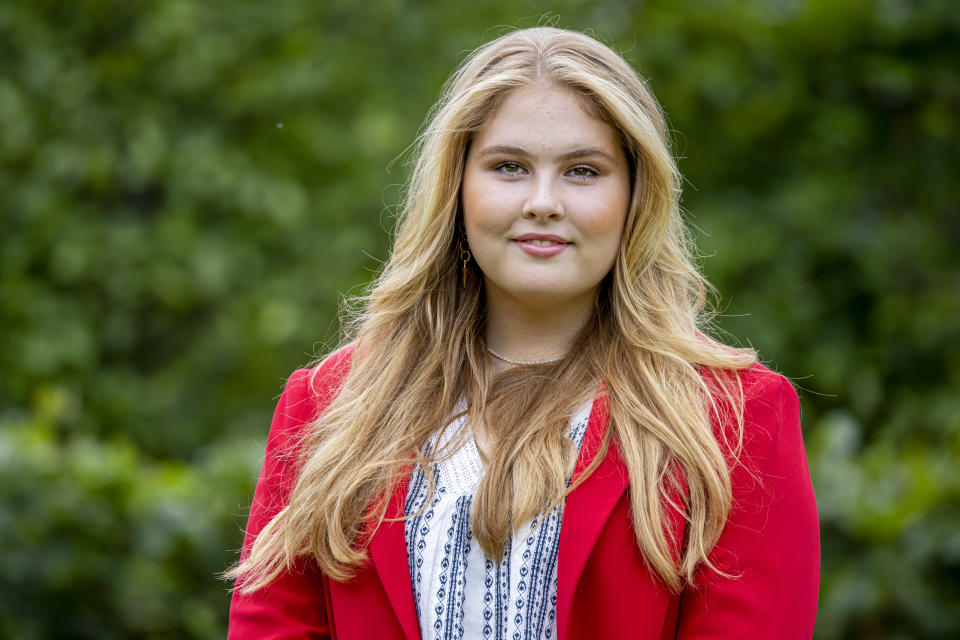 THE HAGUE, NETHERLANDS - JULY 16: Princess Amalia of The Netherlands pose for the media at Huis ten Bosch Palace on July 16, 2021 in The Hague, Netherlands. (Photo by Patrick van Katwijk/WireImage)