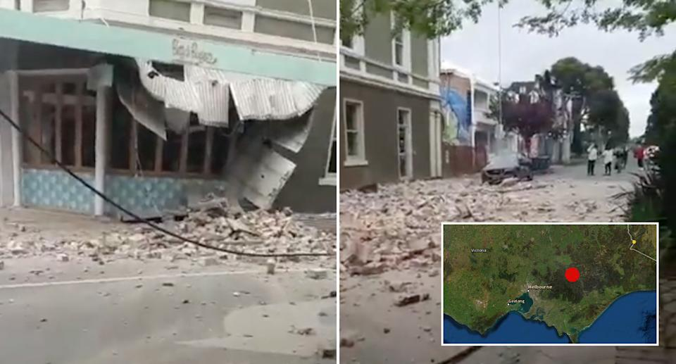 A large earthquake has caused significant damage to the side of an inner-city Melbourne building. Source: Twitter