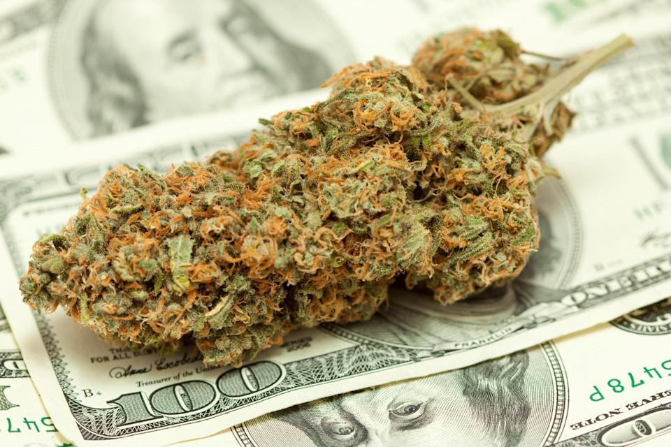 A large cannabis bud lying atop a messy pile of hundred dollar bills.