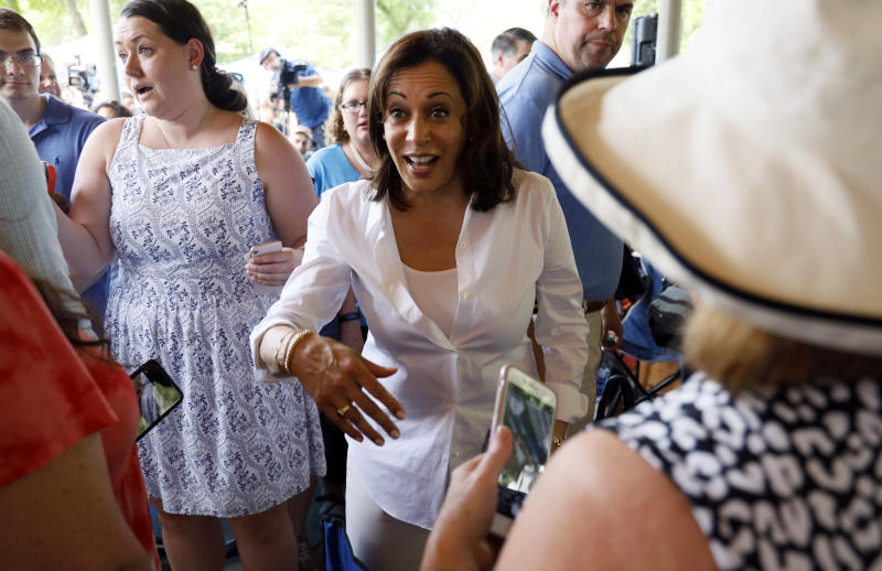 Sen. Kamala Harris attends a community picnic in West Des Moines, Iowa, on Wednesday. (AP Photo/Charlie Neibergall)