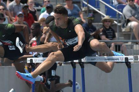 Jun 24, 2018; Des Moines, IA, USA; Devon Allen wins 110m hurdles semifinal in 13.38 during the USA Championships at Drake Stadium. Mandatory Credit: Kirby Lee-USA TODAY Sports