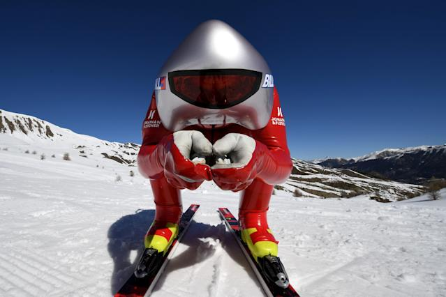 <p>Speed skiiers wear dense foam fairings on their lower legs and special aerodynamic helmets. While the sport is not unlike the type of X-Games-style events we've seen in recent Winter Games, there are no plans to make it an official event any time soon. (Getty) </p>