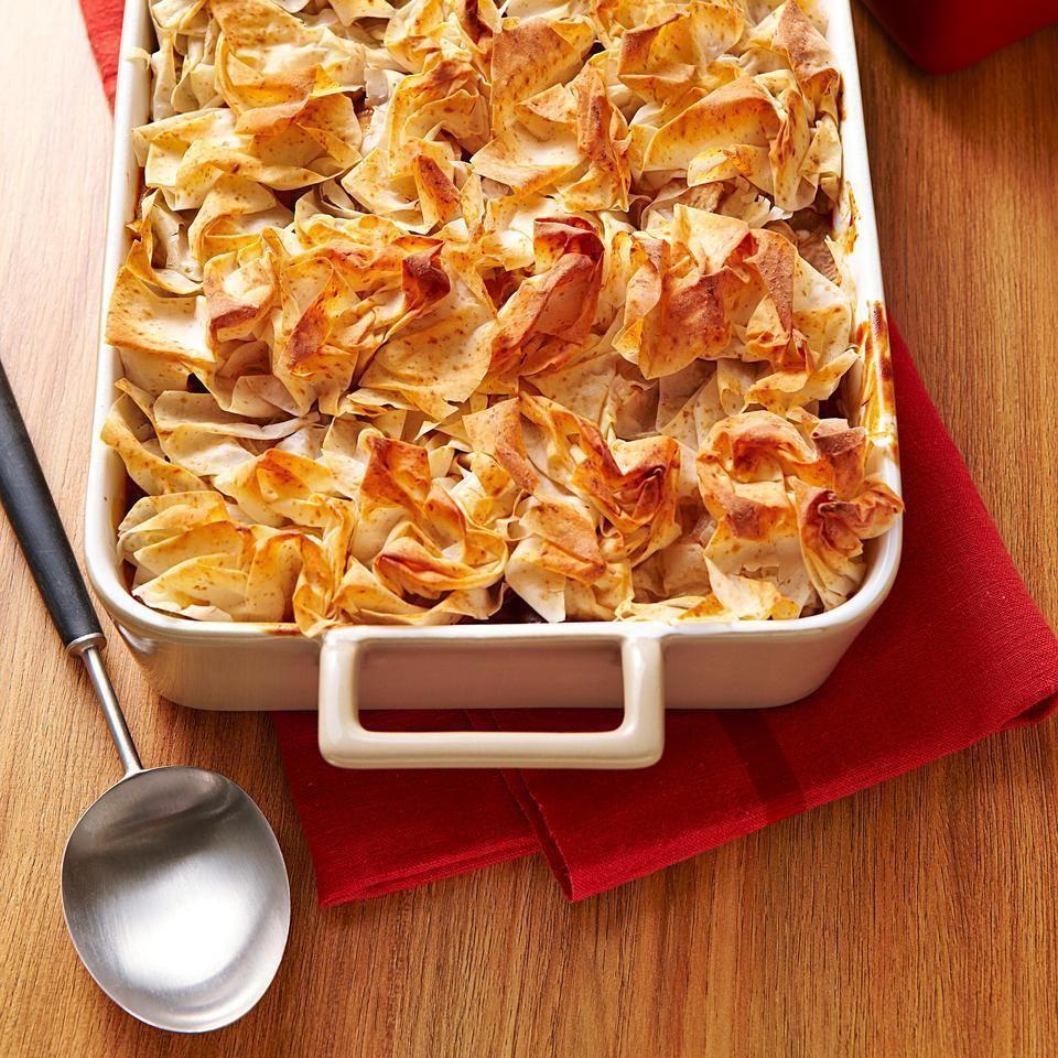 "<p>This fish and mushroom casserole recipe features a crispy phyllo topping on a hearty stew full of mushrooms and chunks of cod swimming in a rich sherry sauce. Other firm white fish work too--use whatever looks best at the seafood counter. <a href=""http://www.eatingwell.com/recipe/250539/fish-mushroom-casserole-with-crispy-phyllo/"" rel=""nofollow noopener"" target=""_blank"" data-ylk=""slk:View recipe"" class=""link rapid-noclick-resp""> View recipe </a></p>"