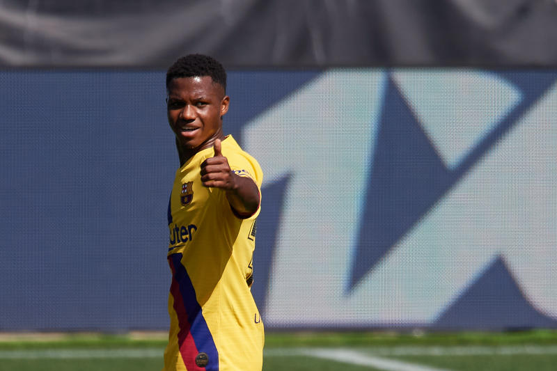 Ansu Fati of Barcelona gestures during the Liga match between Deportivo Alaves and FC Barcelona at Estadio de Mendizorroza on July 19, 2020 in Vitoria-Gasteiz, Spain. (Photo by Jose Breton/Pics Action/NurPhoto via Getty Images)