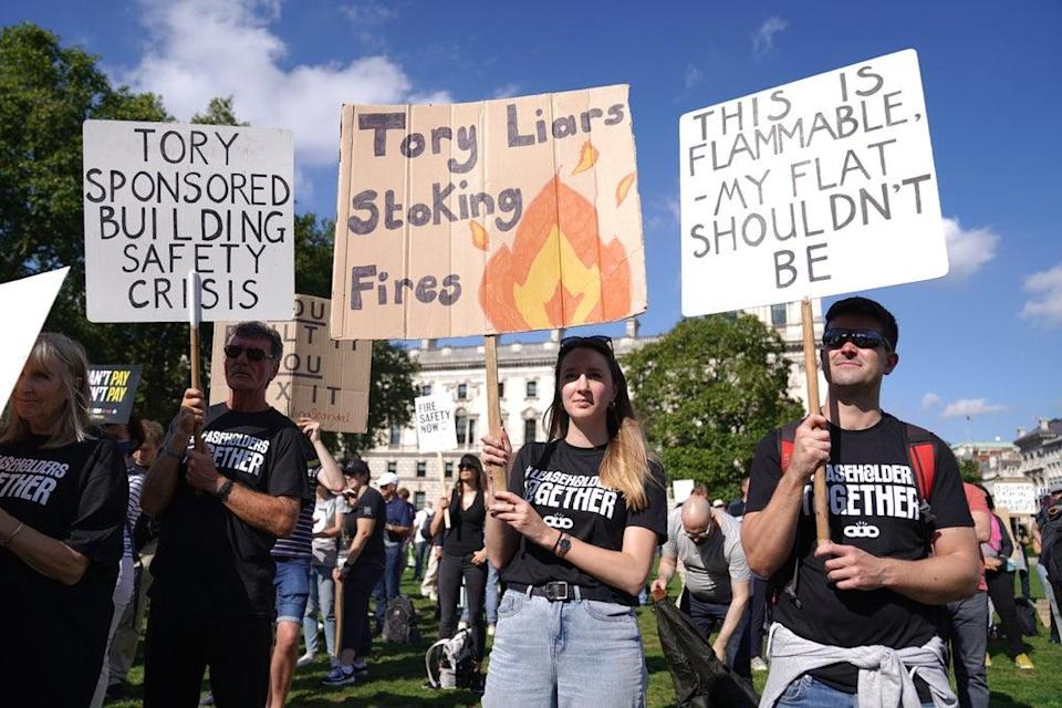 Protesters from Leaseholders Together gather at the rally in Parliament Square (Kirsty O'Connor/PA) (PA Wire)