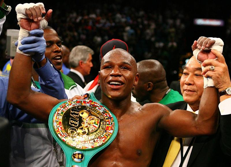 Mayweather after his famous victory over De La Hoya in 2007 (Getty)