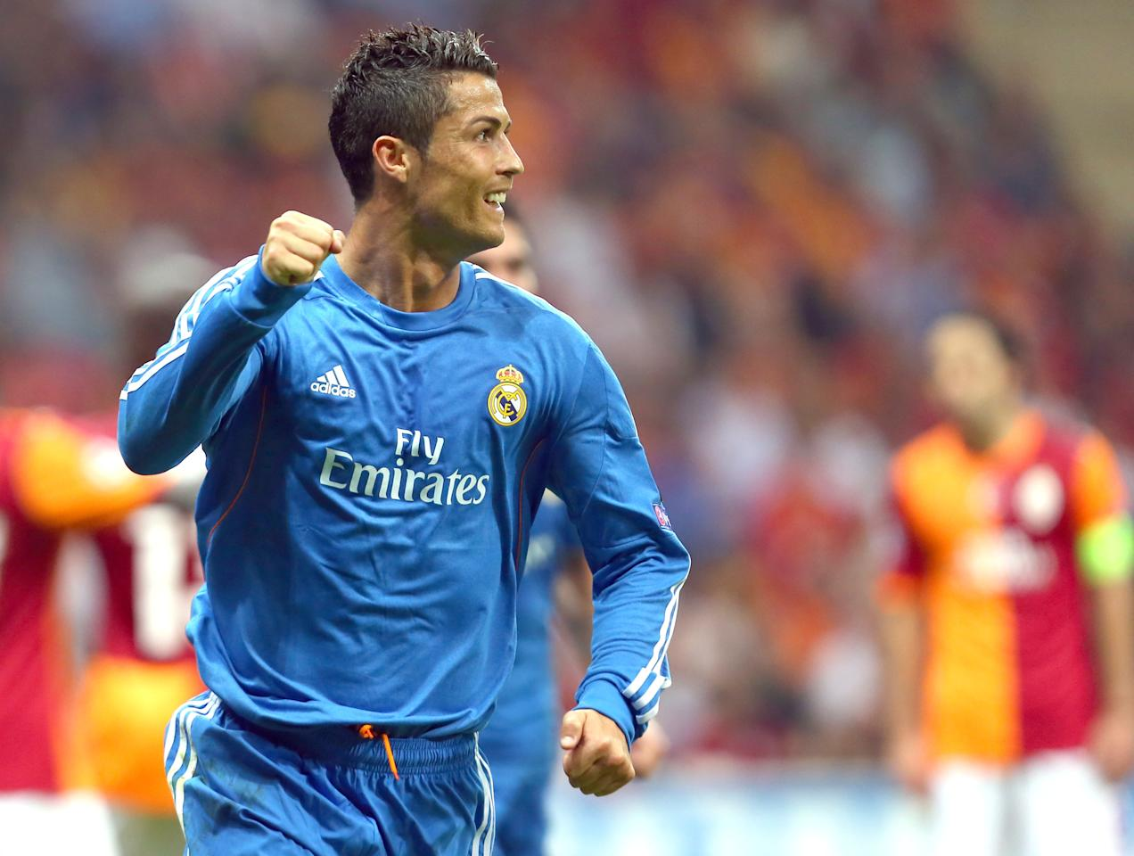 ISTANBUL, TURKEY- SEPTEMBER 17: Christiano Ronaldo of Real Madrid celebrates his goal against Galatasaray during UEFA Champions League Group B match at the Ali Sami Yen Area on September 17, 2013 in Istanbul, Turkey. (Photo by Burak Kara/Getty Images)