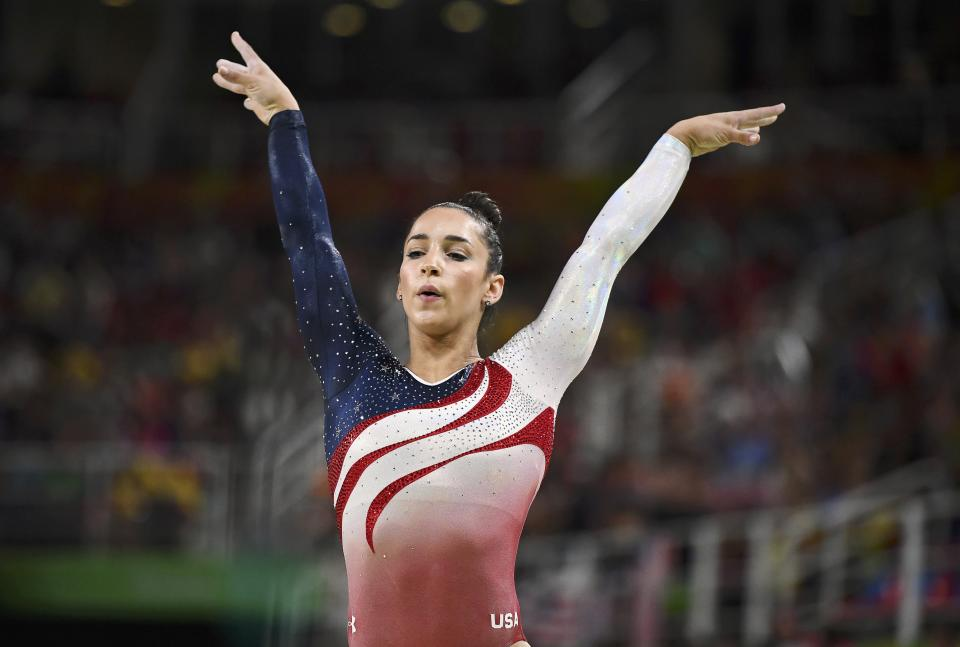 Raisman competing at the 2016 Olympics in Rio. (Photo: REUTERS/Dylan Martinez)