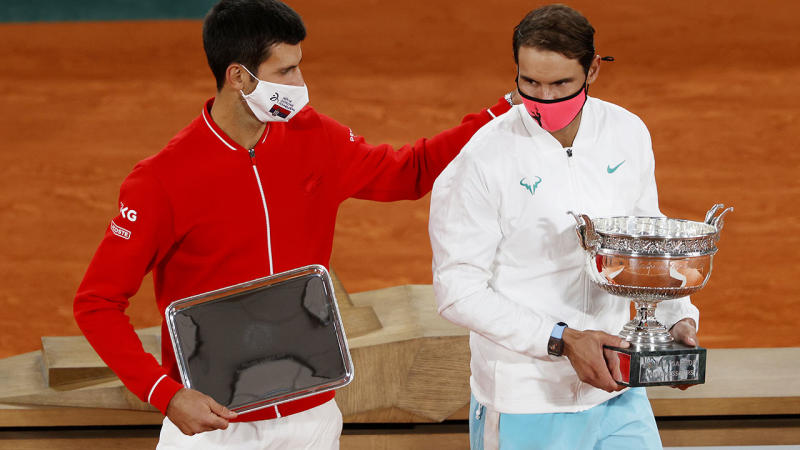 Novak Djokovic and Rafael Nadal, pictured here after the French Open final.