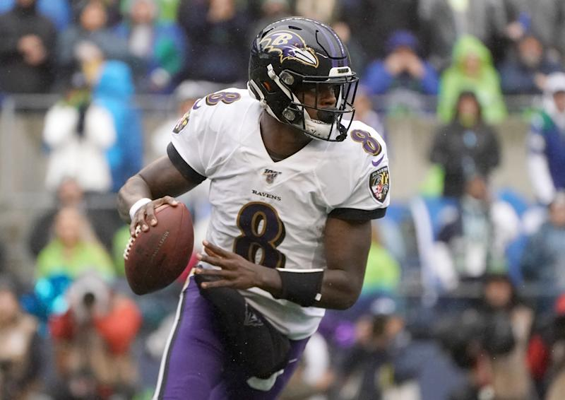 Lamar Jackson was the best quarterback on the field Sunday in Seattle and is making a case for MVP consideration. (Kirby Lee/Reuters)