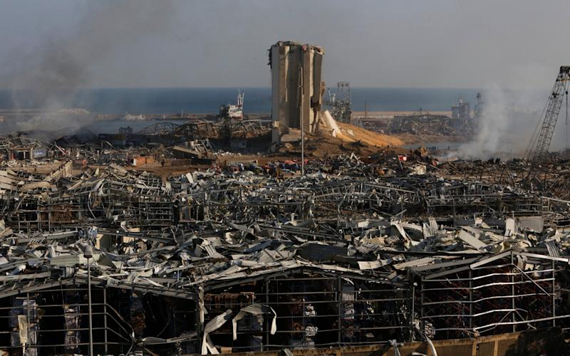 Buildings lie ruined near the Lebanon's port, devastated by a chemical explosion - Getty