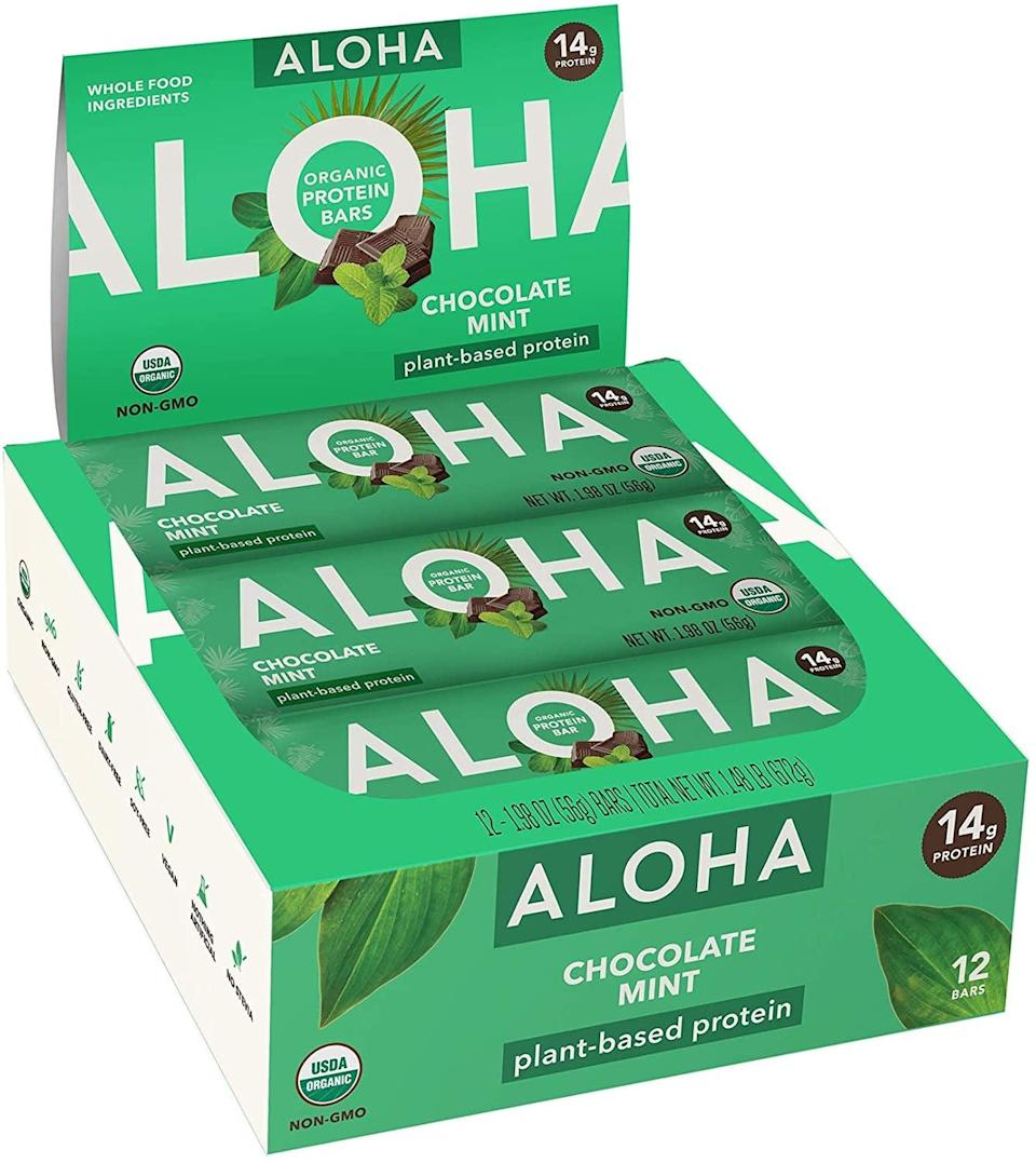 """<p>""""These <span>Aloha Chocolate Mint Bars</span> ($23 for 12) taste just like a Thin Mint Girl Scout cookie when kept in the fridge! I highly recommend you try the bars cold because the cooling mint is refreshing, and I even wrote an <a href=""""https://www.popsugar.com/fitness/aloha-chocolate-mint-protein-bar-fridge-hack-47604836"""" class=""""link rapid-noclick-resp"""" rel=""""nofollow noopener"""" target=""""_blank"""" data-ylk=""""slk:entire article about why they taste so good"""">entire article about why they taste so good</a>. Plus, they have 14 grams of brown rice and pumpkin-seed protein per bar."""" - Sam Brodsky, assistant editor, Fitness</p>"""