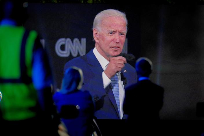 Democratic presidential nominee Joe Biden appears via video at a CNN town hall-style campaign event in Scranton, Pa., Sept. 17, 2020. (Erin Schaff/The New York Times)