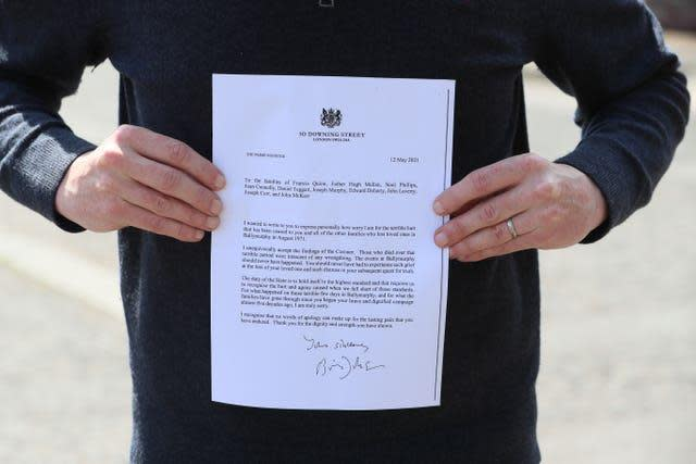 The letter sent from Prime Minister Boris Johnson (Brian Lawless/PA)