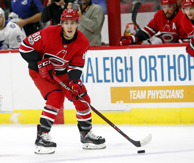 "Carolina Hurricanes' <a class=""link rapid-noclick-resp"" href=""/nhl/players/5698/"" data-ylk=""slk:Teuvo Teravainen"">Teuvo Teravainen</a> has come on strong after a slow start. (AP Photo/Karl B DeBlaker)"