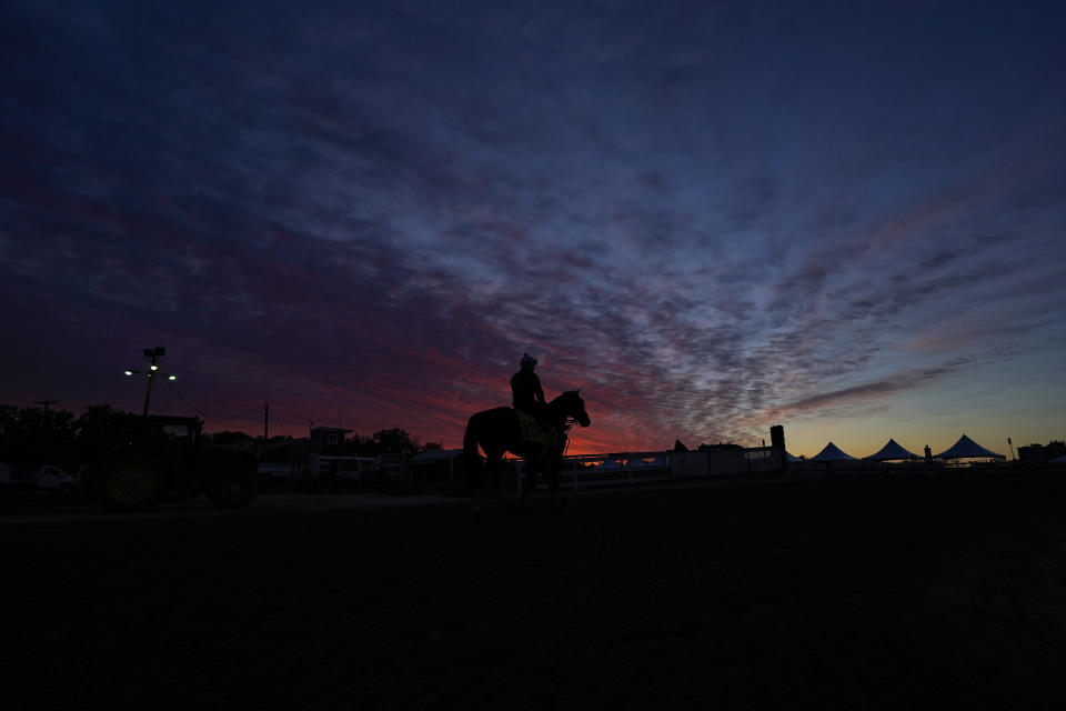 A jockey is seen atop a horse at dawn at the track at Pimlico Race Course ahead of the Preakness Stakes horse race, Wednesday, May 12, 2021, in Baltimore. (AP Photo/Julio Cortez)