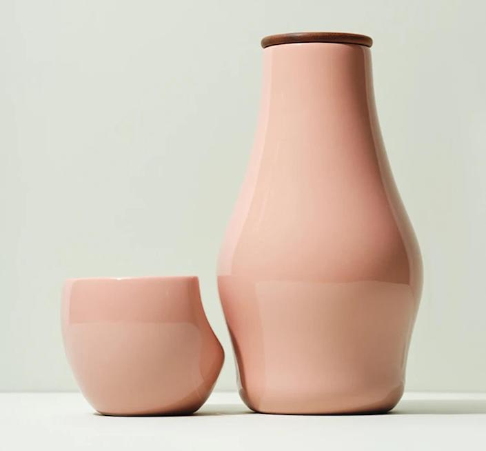"""<p>Spruce up your space with these functional but beautiful carafe set from førs. Use it for your wine or even as a vase for your 'Just Because' flowers. The Canadian company designs thoughtful and sustainable products with joy in mind, so you'll smile every time you take a sip. </p> <p><strong>Buy It! </strong>førs Carafe, $80; <a href=""""https://forsstudio.com/collections/cups-carafes/products/carafe"""" rel=""""sponsored noopener"""" target=""""_blank"""" data-ylk=""""slk:forsstudio.com"""" class=""""link rapid-noclick-resp"""">forsstudio.com</a></p>"""