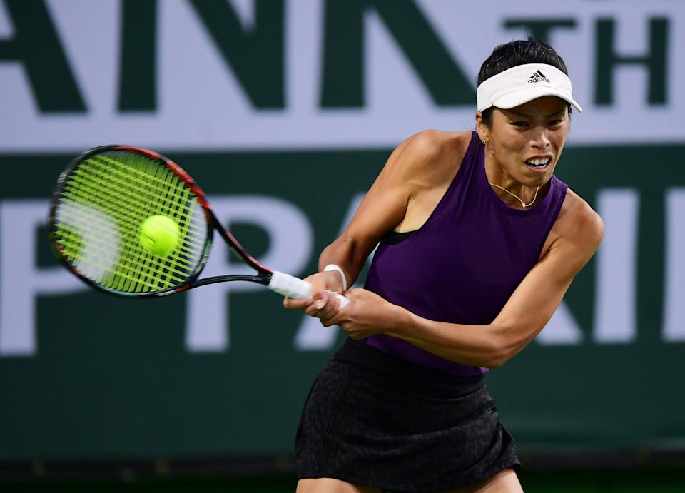 INDIAN WELLS, CA - OCTOBER 12: Su-Wei Hsieh of Taiwan returns a serve during a doubles tennis match played at the BNP Paribas Open on October 12, 2021 at the Indian Wells Tennis Garden in Indian Wells, CA. (Photo by John Cordes/Icon Sportswire via Getty Images)