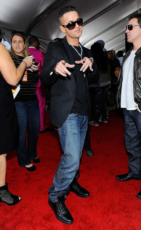 """Looks like Mike """"The Situation"""" Sorrentino has left the """"Jersey Shore"""" in favor of Hollywood! While we're not feeling the beaded necklace, at least he left his Ed Hardy threads at home. Kevork Djansezian/AMA2010/<a href=""""http://www.gettyimages.com/"""" target=""""new"""">GettyImages.com</a> - November 21, 2010"""