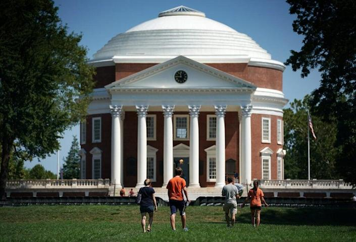 CHARLOTTESVILLE, VA – AUGUST 19: Students return to the University of Virginia for the fall semester on August 19, 2017 in Charlottesville, Virginia. One week ago the town of Charlottesville was placed in the national spotlight when white supremacists descended upon the town to stage a rally protesting the removal of a statue of Robert E. Lee when violence broke out resulting in the death of one counter protester and two members of the Virginia State Police. (Photo by Win McNamee/Getty Images)