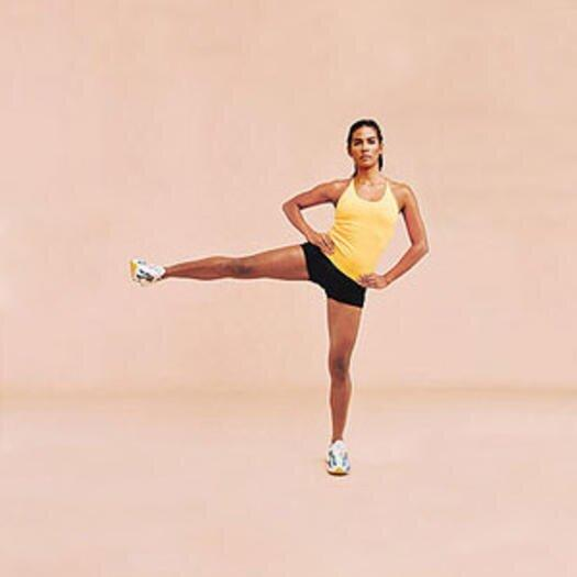 """<p>This hip workout is all about control. Try not to swing your leg—use hip and <a href=""""https://www.shape.com/fitness/tips/why-its-so-important-have-core-strength"""" target=""""_blank"""">core strength</a> to lift and lower.</p> <ul><li>With feet hip-width apart and hands on hips, slowly extend right leg to the side at hip height in 3 full counts. Be sure to keep inner thigh parallel to the floor.</li> <li>Hold for 1 count, then take 3 counts to lower to floor.</li> <li>Repeat on the left.</li> </ul><p><strong>Do 15 reps per side.</strong></p>"""