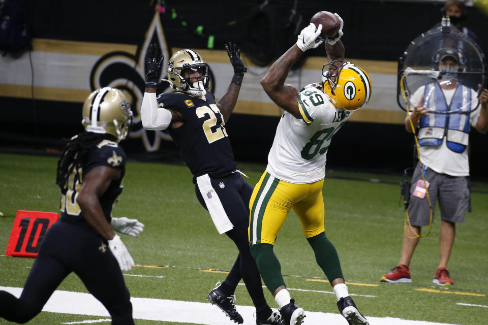 Green Bay Packers tight end Marcedes Lewis (89) pulls in a touchdown reception in front of New Orleans Saints strong safety Malcolm Jenkins (27) in the second half.