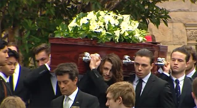 Stuart Kelly's emotional friends carried his coffin out of the chapel at The King's School. Photo: 7 News