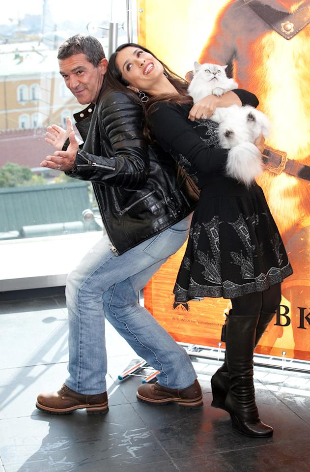 """We're not sure how much fun the cat was having, but Antonio Banderas and Salma Hayek looked like they were having a grand old time on Monday at the Moscow premiere of their film """"Puss in Boots."""" Starface.ru /<a href=""""http://www.splashnewsonline.com"""" target=""""new"""">Splash News</a> - September 26, 2011"""