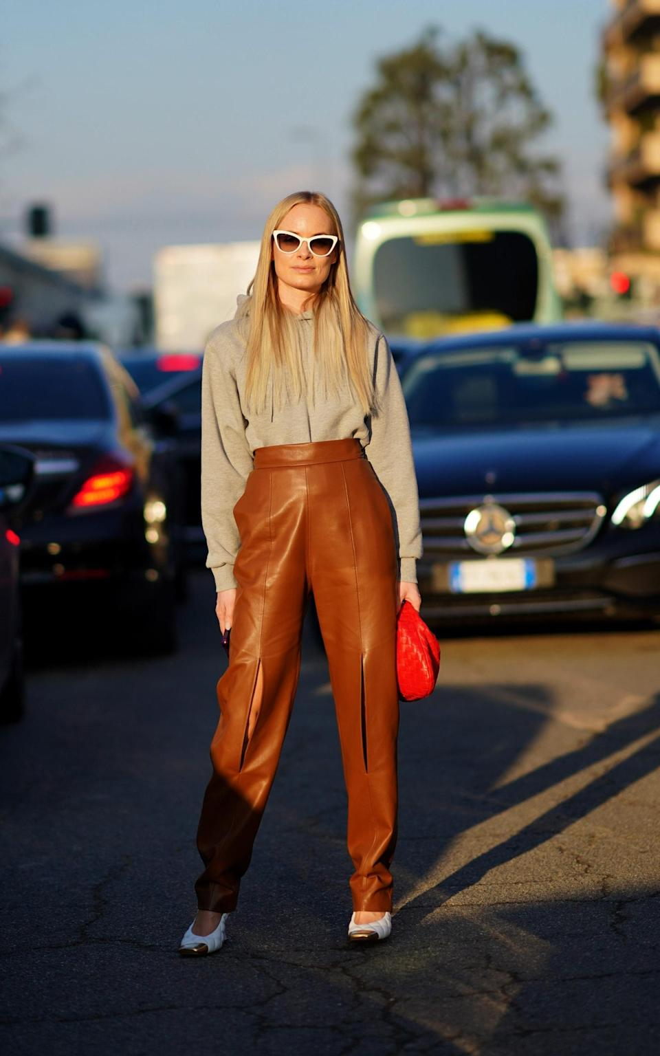Looser leather trousers are an ideal alternative to jeans - Getty