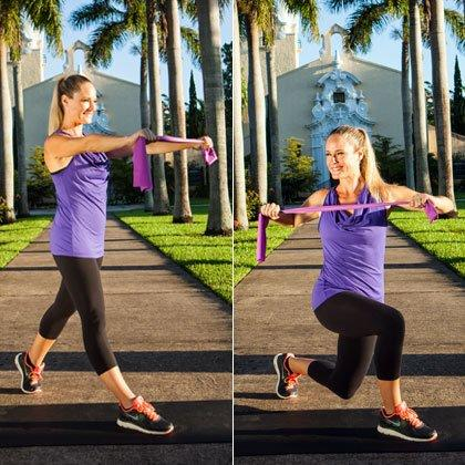 """<p><em>Targets legs, butt, abs, upper back</em></p> <ul><li>Stand in a split stance with your right leg forward and left heel lifted. Fold your resistance band in half and hold it parallel to the ground in front of your chest, palms facing down [left photo].</li> <li>Bend your elbows and stretch the band wider as you row the band into your chest. (Keep your shoulders down and imagine that you're squeezing a lemon between your shoulder blades.)</li> <li>As you row, rotate your torso to the right while lowering into a lunge [right photo].</li> <li>Return to the starting position of this resistance band exercise for abs to complete one rep. (Related: <a href=""""https://www.shape.com/fitness/workouts/medicine-ball-workout-9-moves-tone-every-inch"""" target=""""_blank"""">This Total-Body Medicine Ball Workout Carves Your Core, Too</a>)</li> </ul><p><strong>Do 10 reps per side.</strong></p>"""