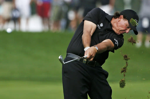Phil Mickelson hits from the fairway on the 12th hole during the second round of the PGA Championship golf tournament at Valhalla Golf Club on Friday, Aug. 8, 2014, in Louisville, Ky. (AP Photo/Mike Groll)