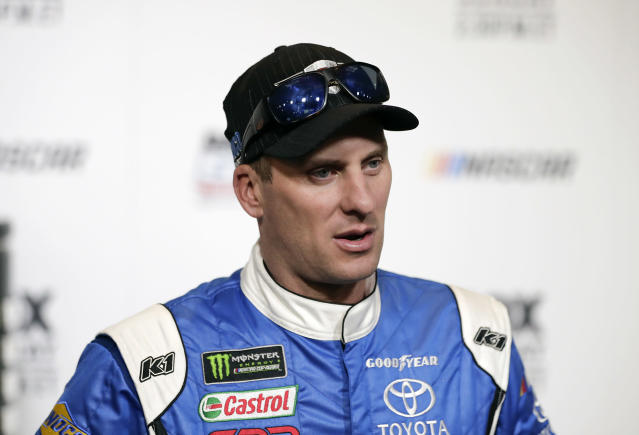 "<a class=""link rapid-noclick-resp"" href=""/nascar/sprint/drivers/1440/"" data-ylk=""slk:D J Kennington"">D J Kennington</a> during media day for the NASCAR Daytona 500 auto race at Daytona International Speedway, Wednesday, Feb. 14, 2018, in Daytona Beach, Fla. (AP Photo/John Raoux)"