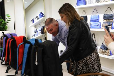 Designer, Aimee Kestenberg presenting the first Comfort Case backpack assortment to Comfort Cases Founder Robert Scheer for the first time. Location: Affordable Luxury Group Design Studios in New York City.