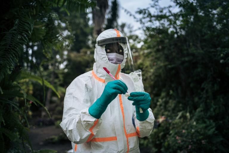 Virus testing in Goma, capital of eastern DR Congo's North Kivu province (AFP Photo/ALEXIS HUGUET)