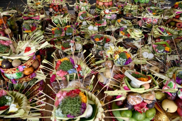 Prayer offerings for Bali's 'Day of Silence', an annual celebration that encourages introspection