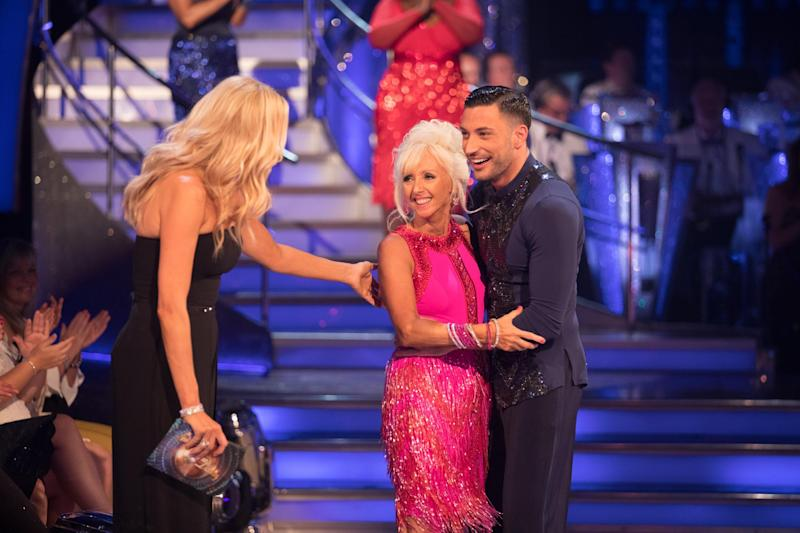 Magica: Presenter Tess Daly congratulates Debbie McGee and dance partner Giovanni Pernice: BBC